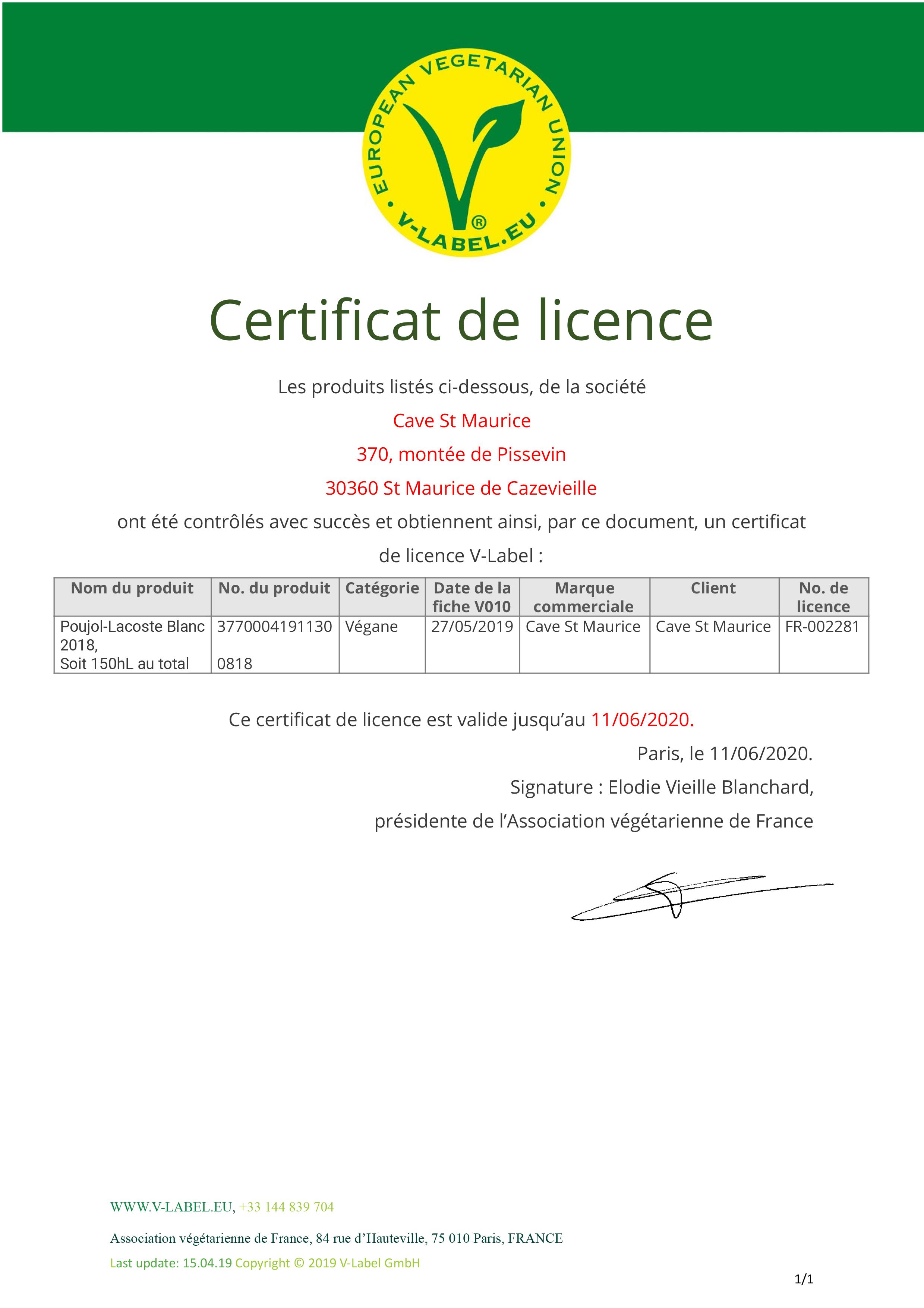 Cave St Maurice Certificat_FR-002281